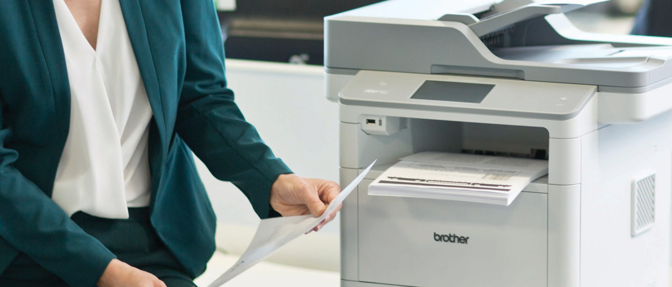 Woman with Brother office printer