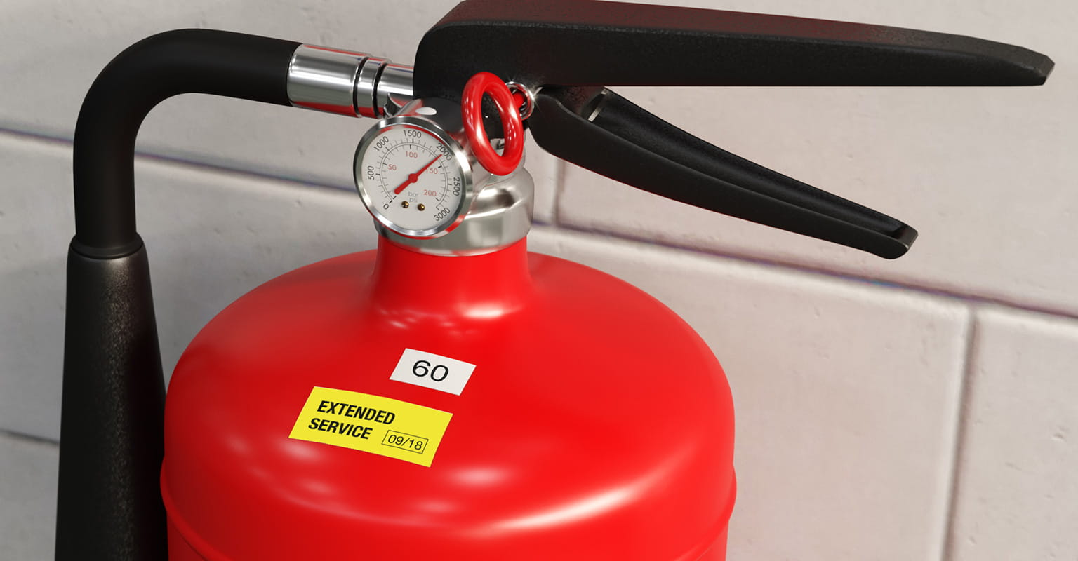 Brother P-touch label on fire extinguisher