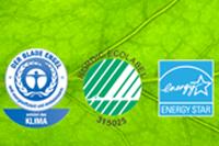 Environmentally friendly eco label - German Blue Angel, Nordic Swan, Energy Star