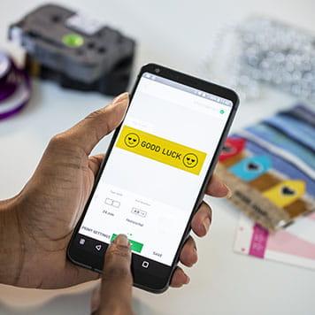 Отпечатване на етикети от приложението за смартфон