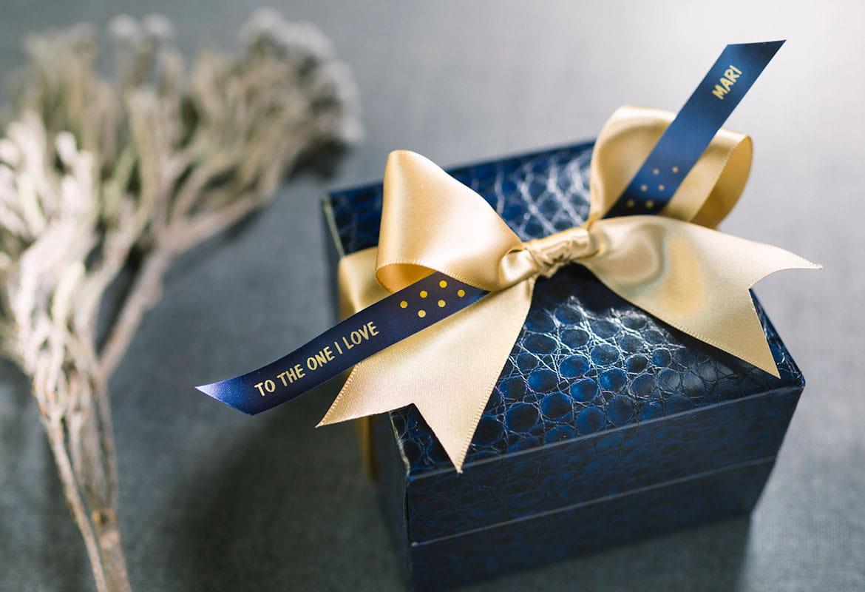 Кутия за подарък, с панделка отпечатана на P-Tocuh CUBE