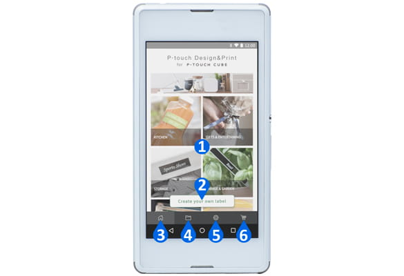 Android смартфон с приложението P-touch Design&Print