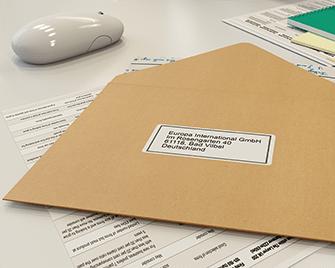 Адресен етикет върху пощенски плик, Brother етикетен принтер