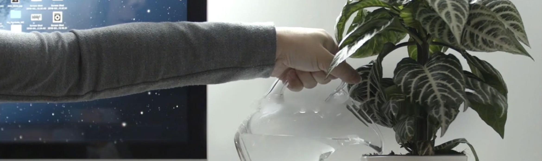 Човек полива цвете в офиса