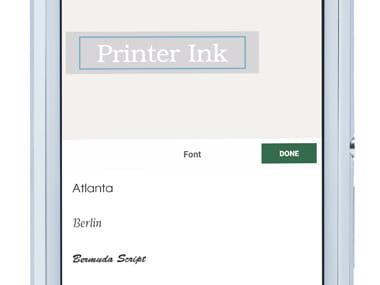 Design&Print приложение на смартфон - промяна на текста