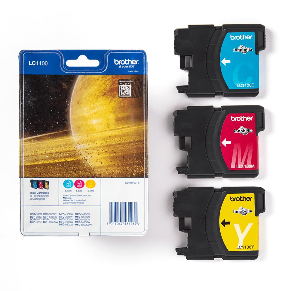 Оригинални мастилници Brother LC1100RBWBP комплект - синьо, червено, жълто 3