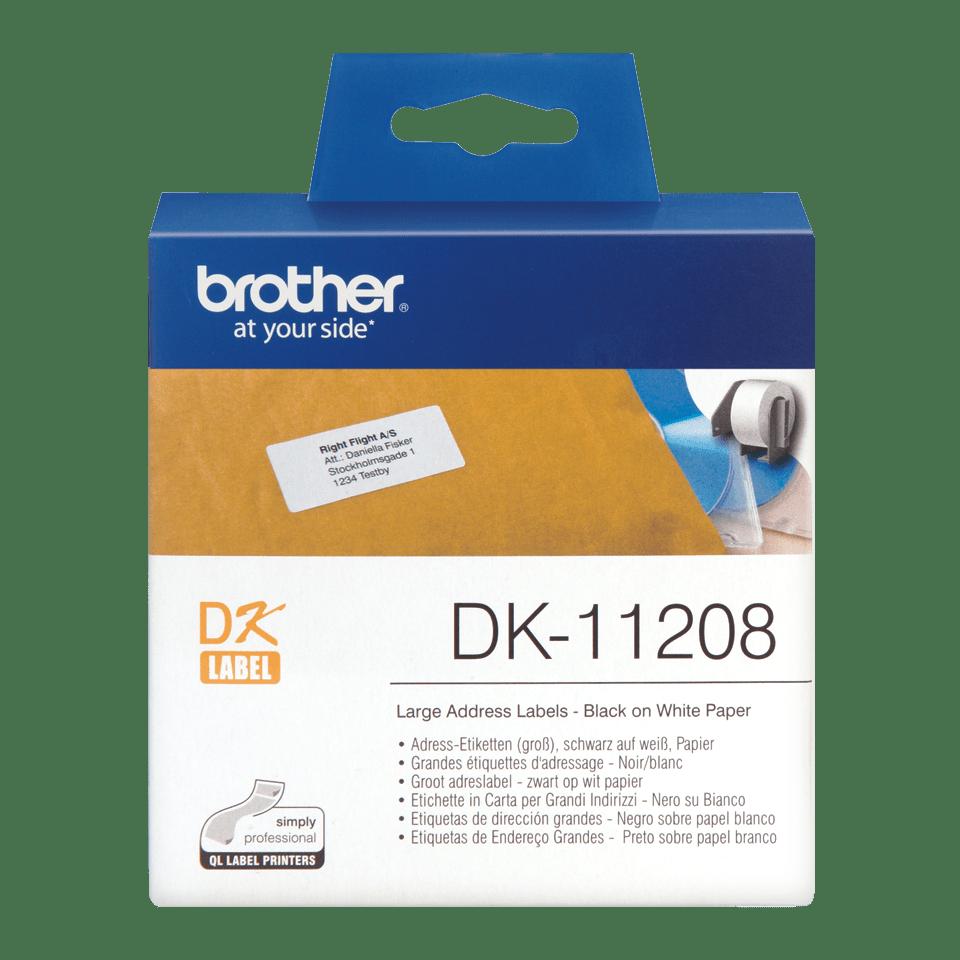Оригинална лента с етикети Brother DK-11208, черен текст на бял фон,, 38mm x 90mm