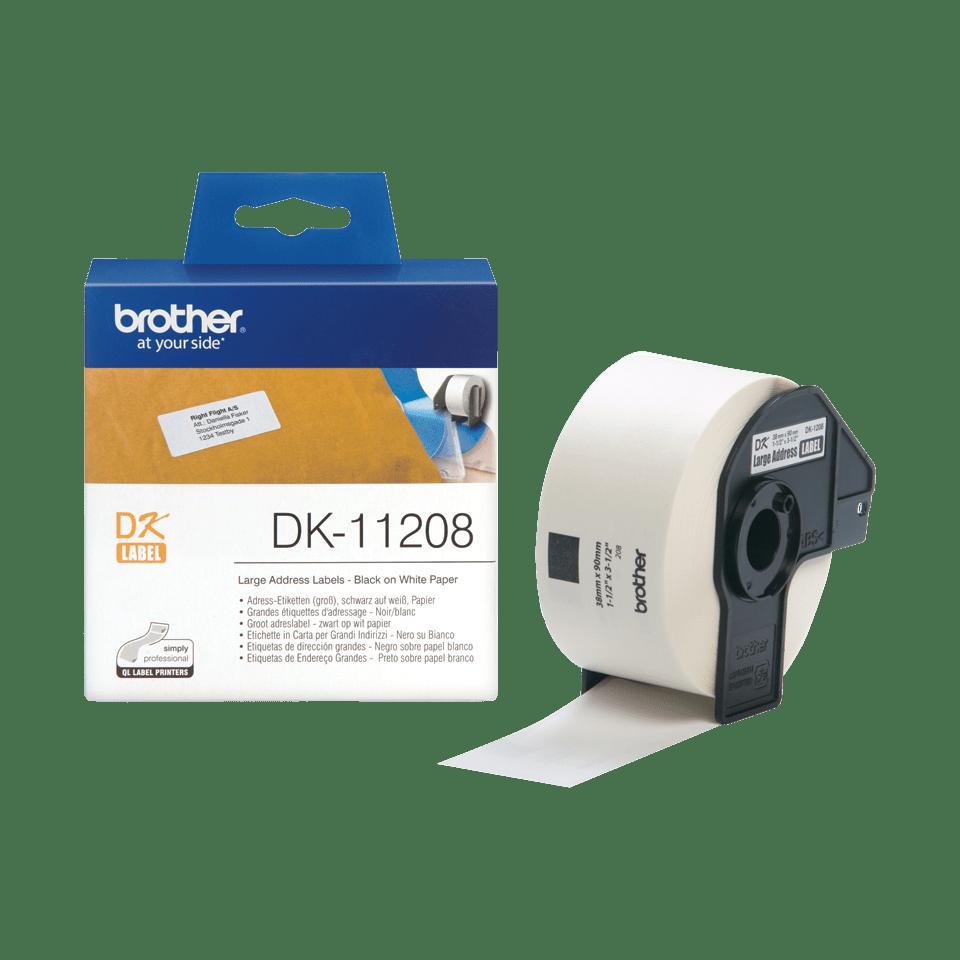 Оригинална лента с етикети Brother DK-11208, черен текст на бял фон,, 38mm x 90mm 3