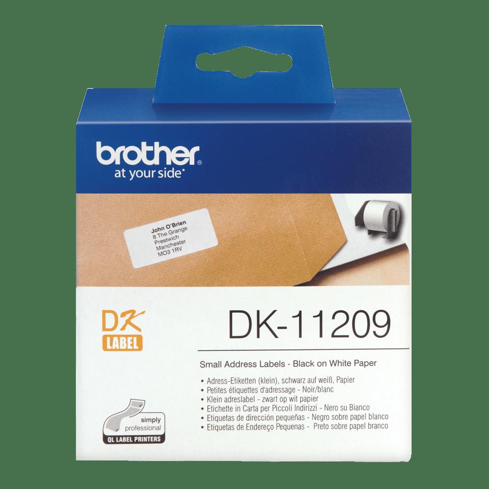Оригинална лента с етикети Brother DK-11209 – черен текст на бял фон, 29mm x 62mm