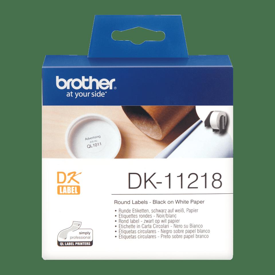 Оригинална лента Brother DK-11218, Черен текст на бял фон, 24mm x 90mm