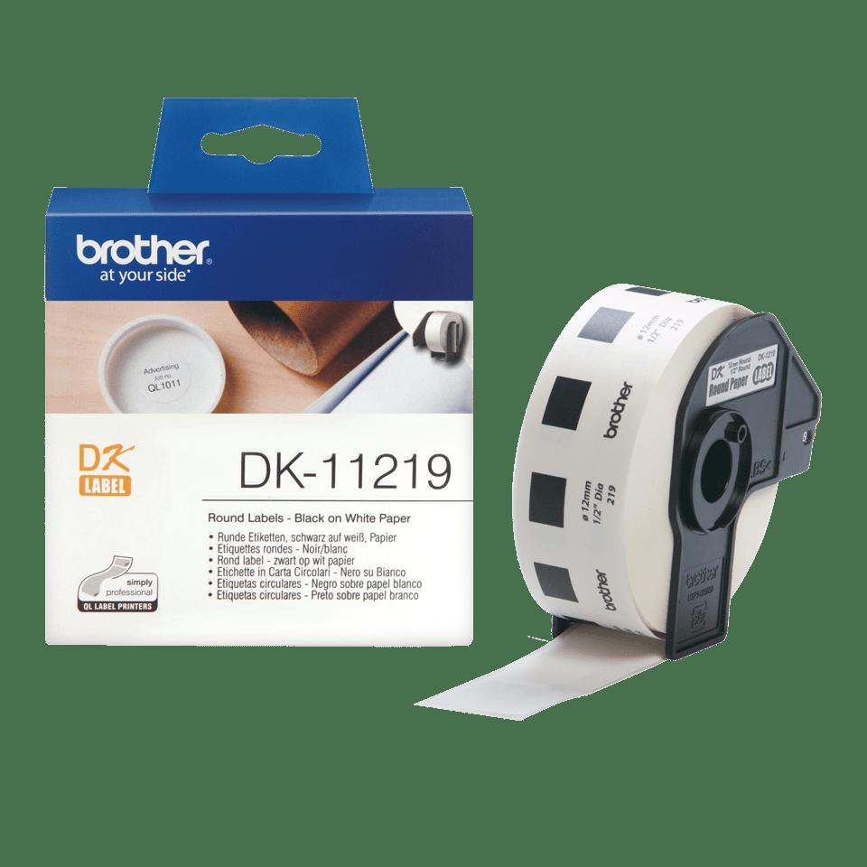 Оригинална лента Brother DK-11219, черен текст на бял фон, 29mm x 90mm. 3