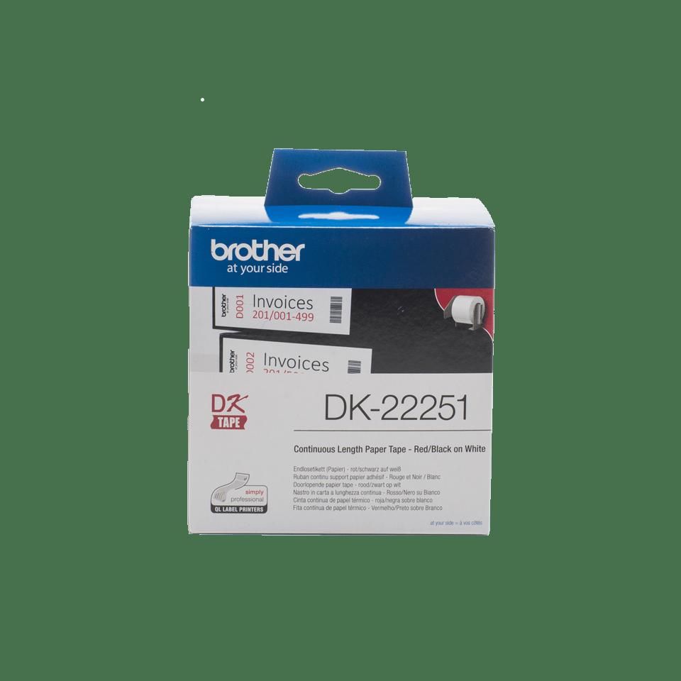 Brother DK-22251 Етикетна лента с черен и червен цвят на бял фон