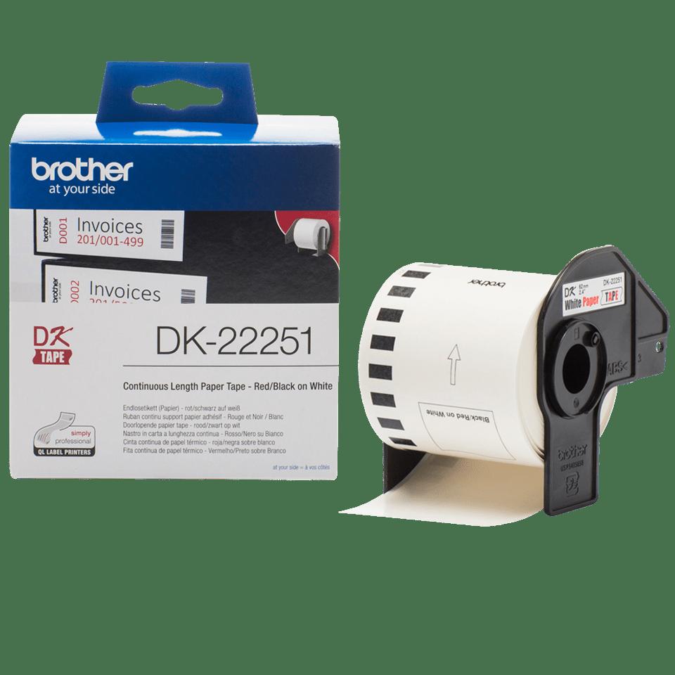 Brother DK-22251 Етикетна лента с черен и червен цвят на бял фон 3
