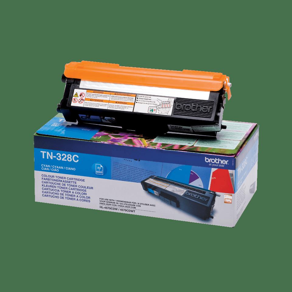 Оригинална тонер касета Brother TN328C – син цвят 2