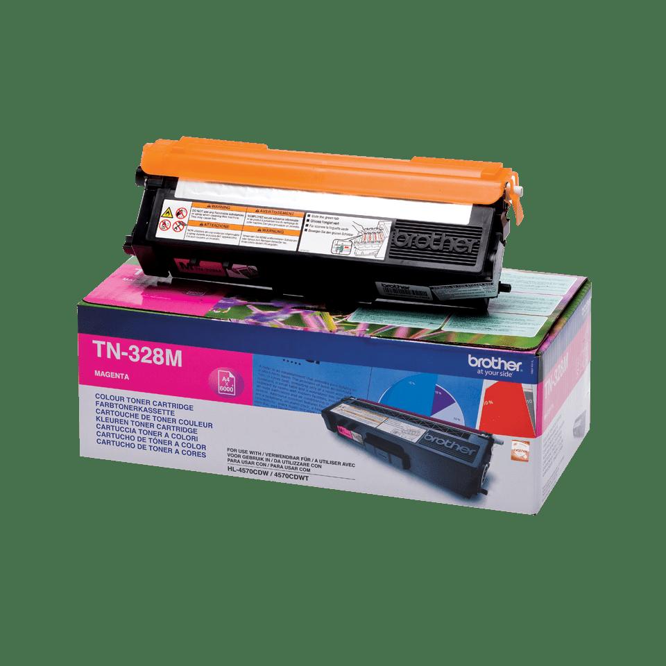 Оригинална тонер касета Brother TN328M– червен цвят