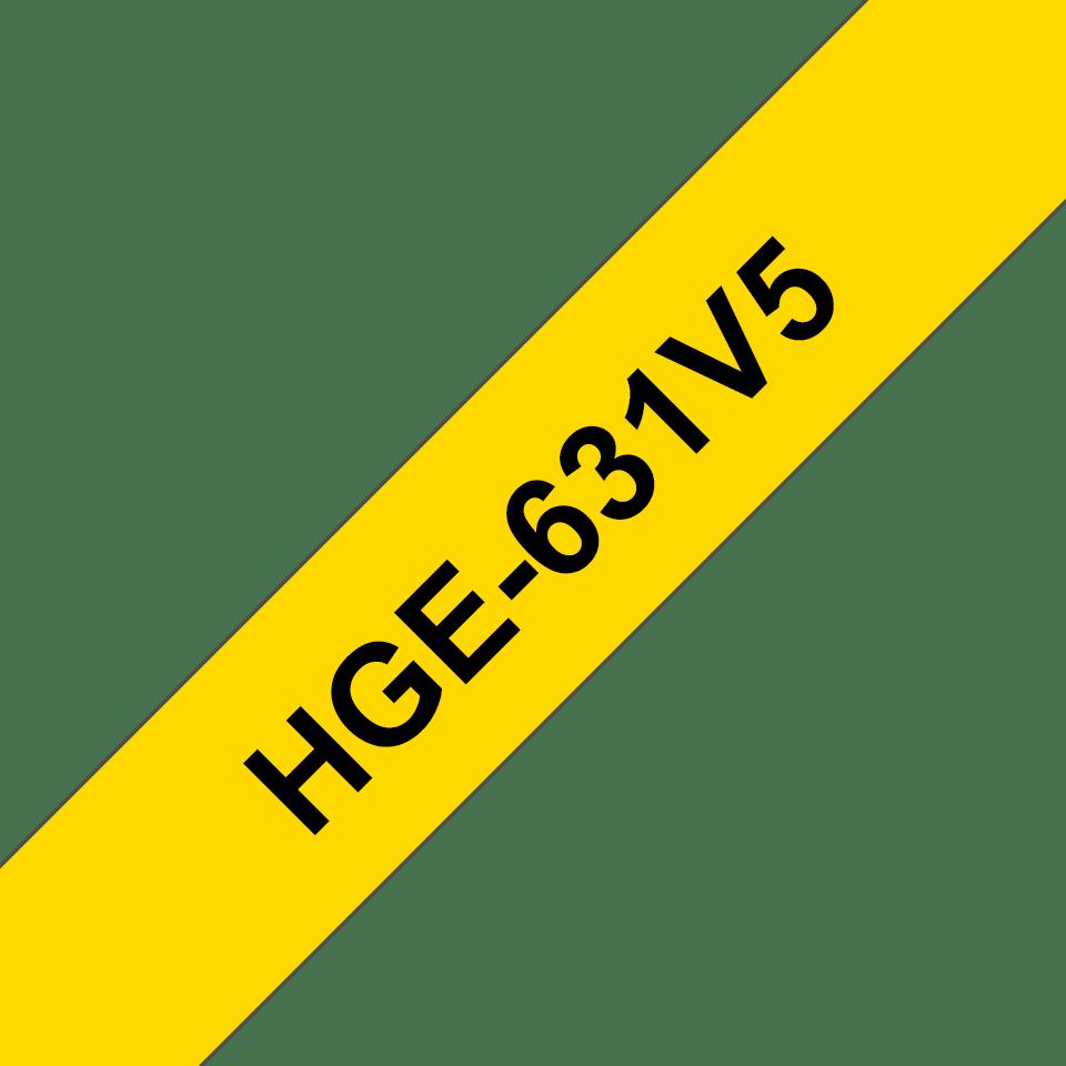 Brother HGe-631V5 - черен текст на жълта лента, 12 мм