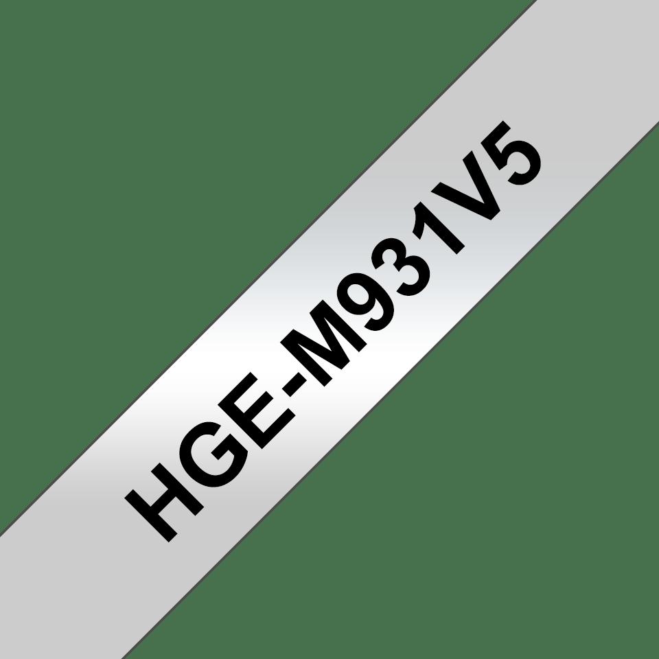 Brother HGe-M931V5 - черен текст на сребърна лента, 12мм