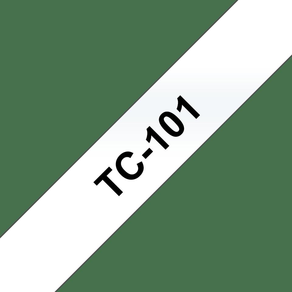 Оригинална касета Brother TC101, черен текст на прозрачна лента, ширина 12mm
