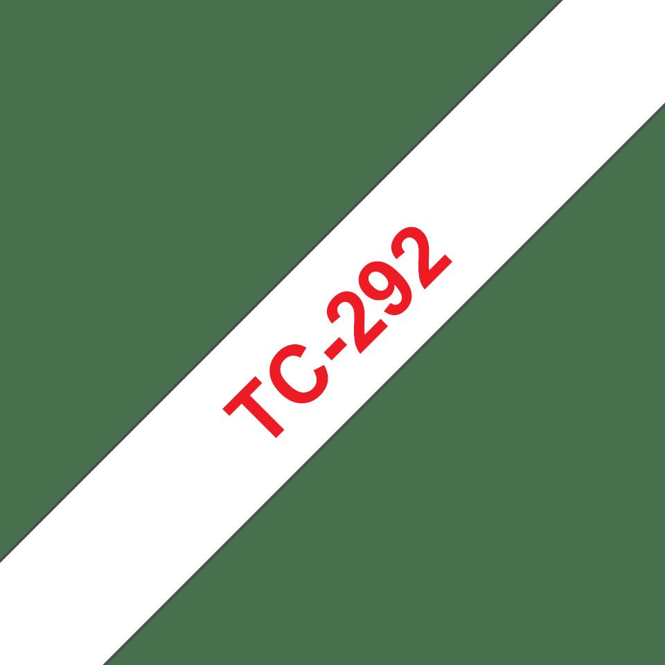 Оригинална касета Brother TC292, червен текст на бяла лента, ширина 9mm