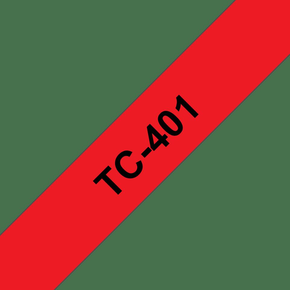 Оригинална касета Brother TC401, черен текст на червена лента, ширина – 12mm