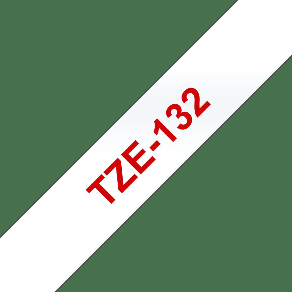 Brother TZe-132 - Червен текст на прозрачна лента, ширина - 12mm