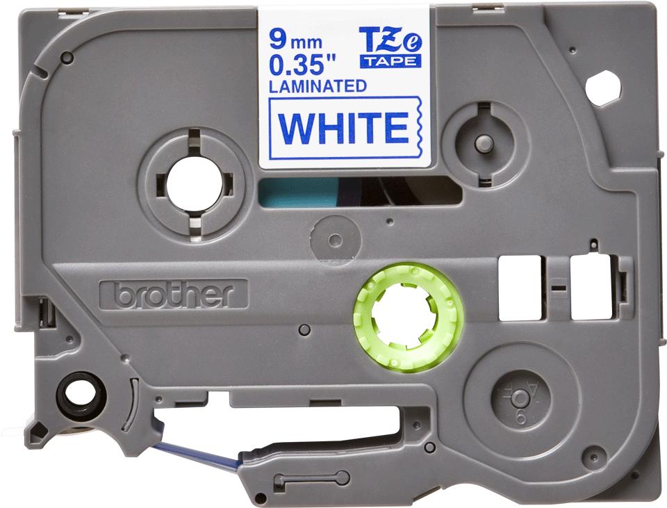 Brother TZe-223 - син текст на бяла ламинирана лента,  9mm ширина