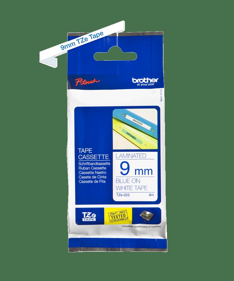 Brother TZe-223 - син текст на бяла ламинирана лента,  9mm ширина 3