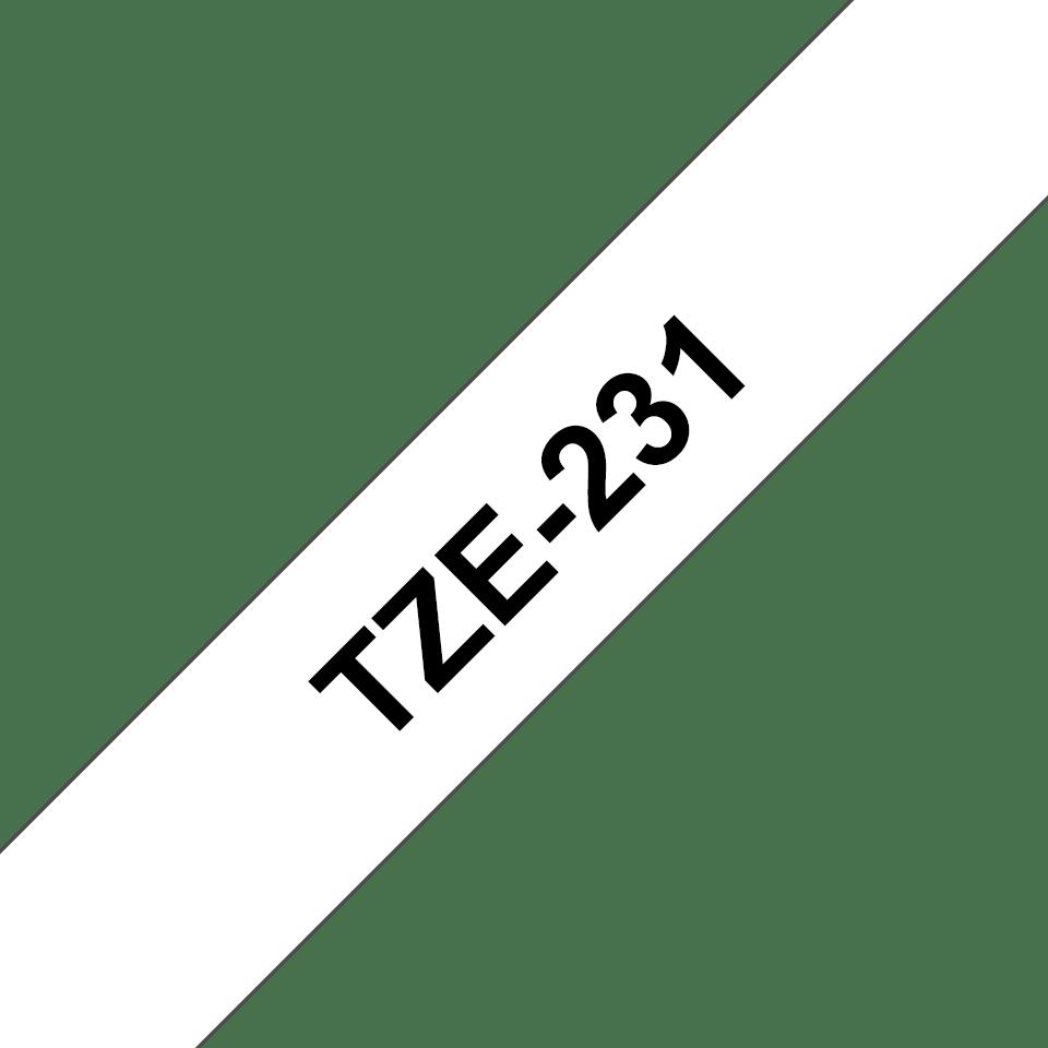 Brother TZe-231 -  черен текст на бяла ламинирана лента,  12mm ширина 3