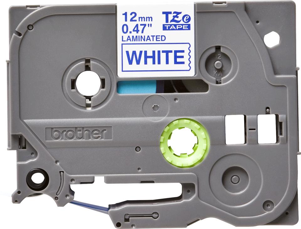 Brother TZe-233 - син текст на бяла ламинирана лента,  12mm ширина