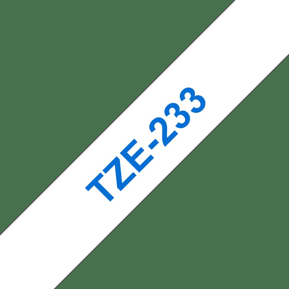 Brother TZe-233 - син текст на бяла ламинирана лента,  12mm ширина 3