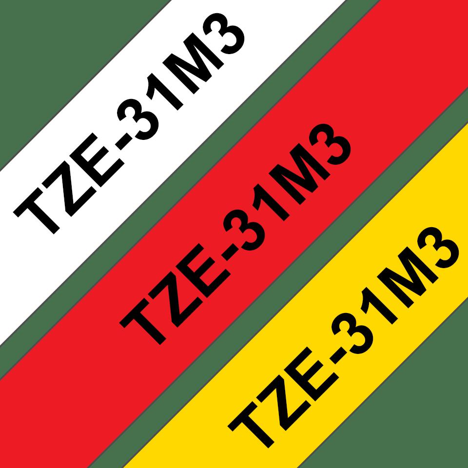 Brother TZe-31M3 - комплект от три ленти, ширина 12mm  3