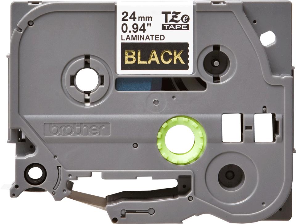 Brother TZe-354 - златен текст на черна ламинирана лента,  24mm ширина 2