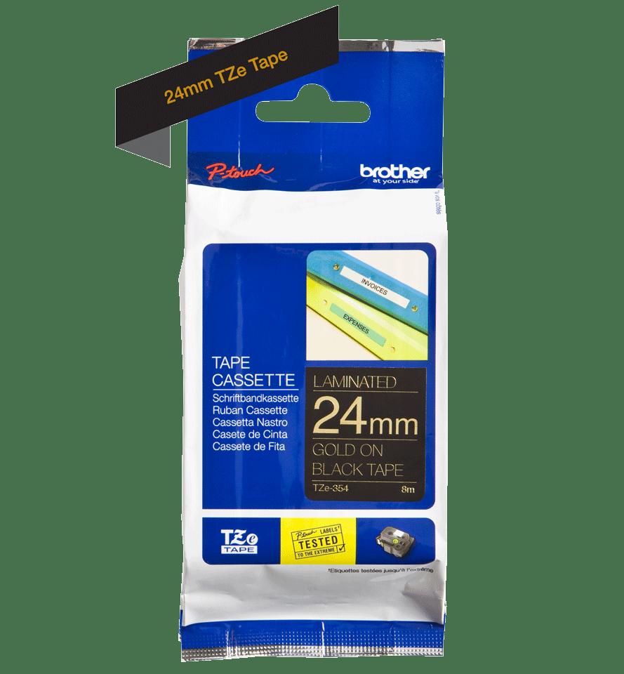 Brother TZe-354 - златен текст на черна ламинирана лента,  24mm ширина 3
