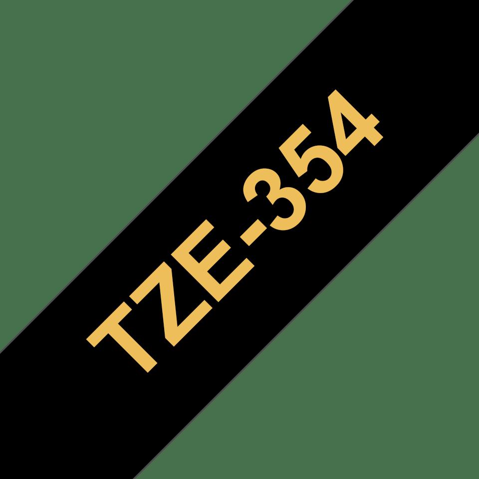 Brother TZe-354 - златен текст на черна ламинирана лента,  24mm ширина
