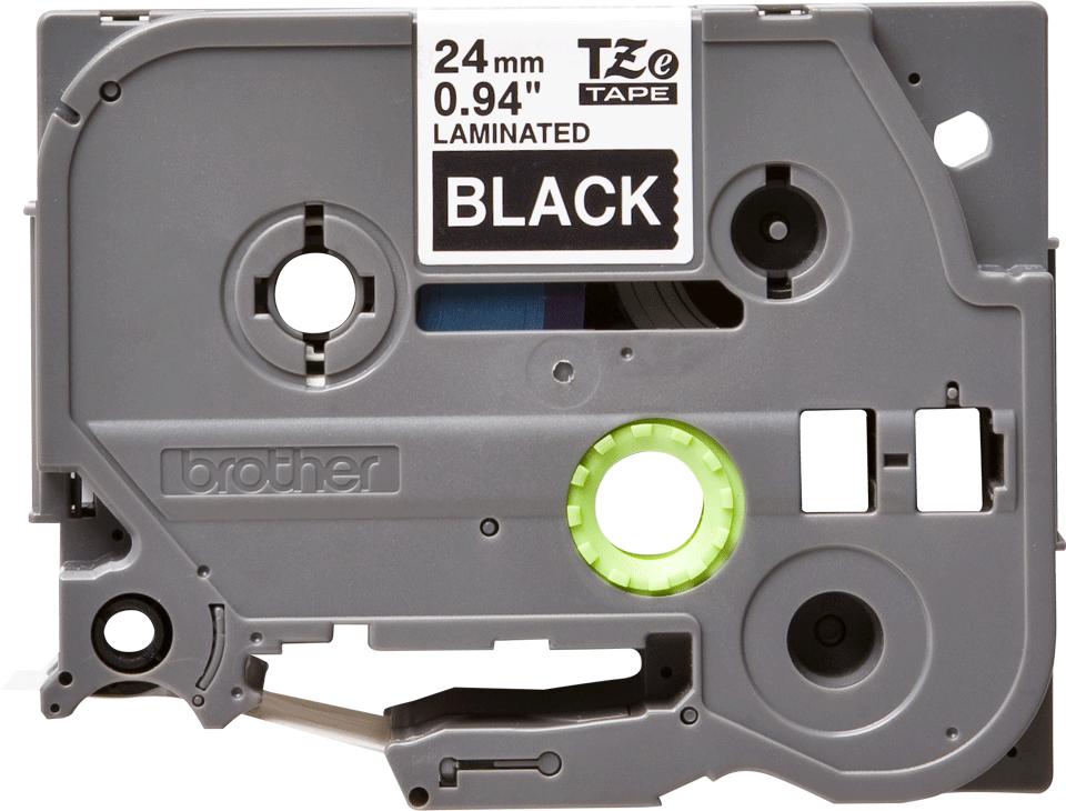 Brother TZe-355 - бял текст на черна ламинирана лента, 24mm ширина