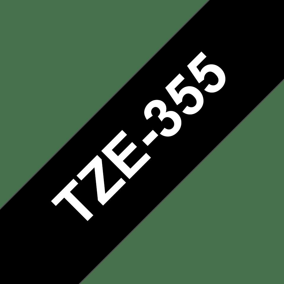 Brother TZe-355 - бял текст на черна ламинирана лента, 24mm ширина 3