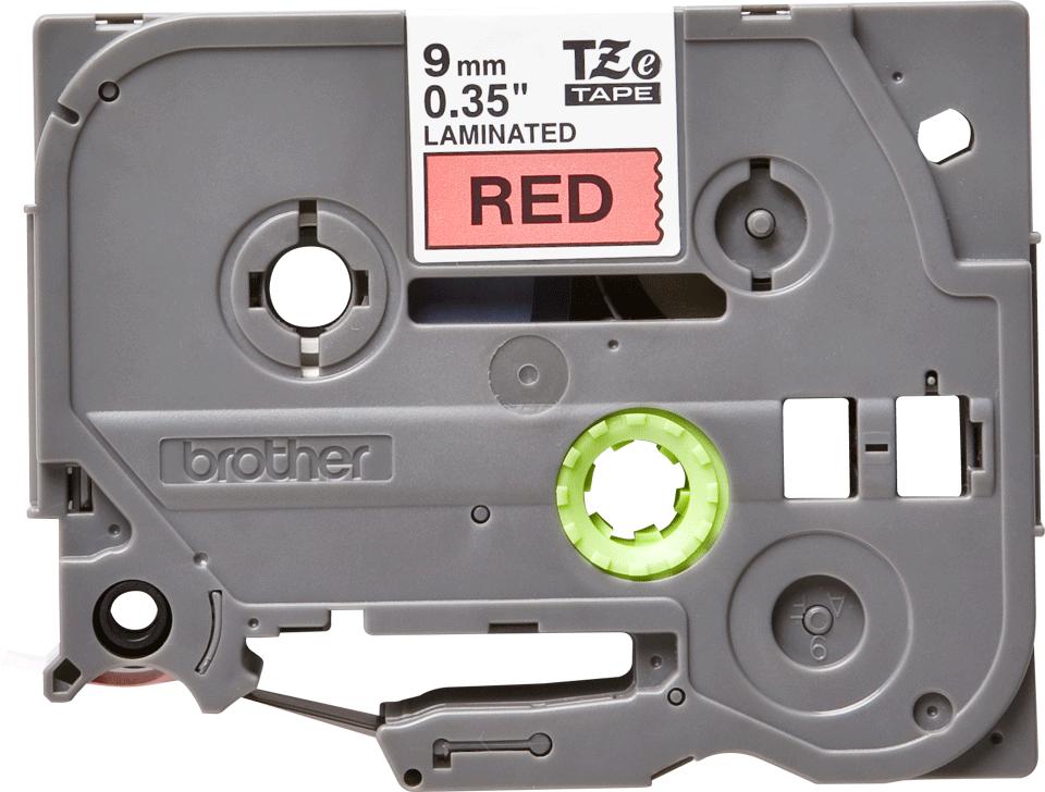 Brother TZe-421 - черен текст на червена ламинирана лента, 9mm ширина