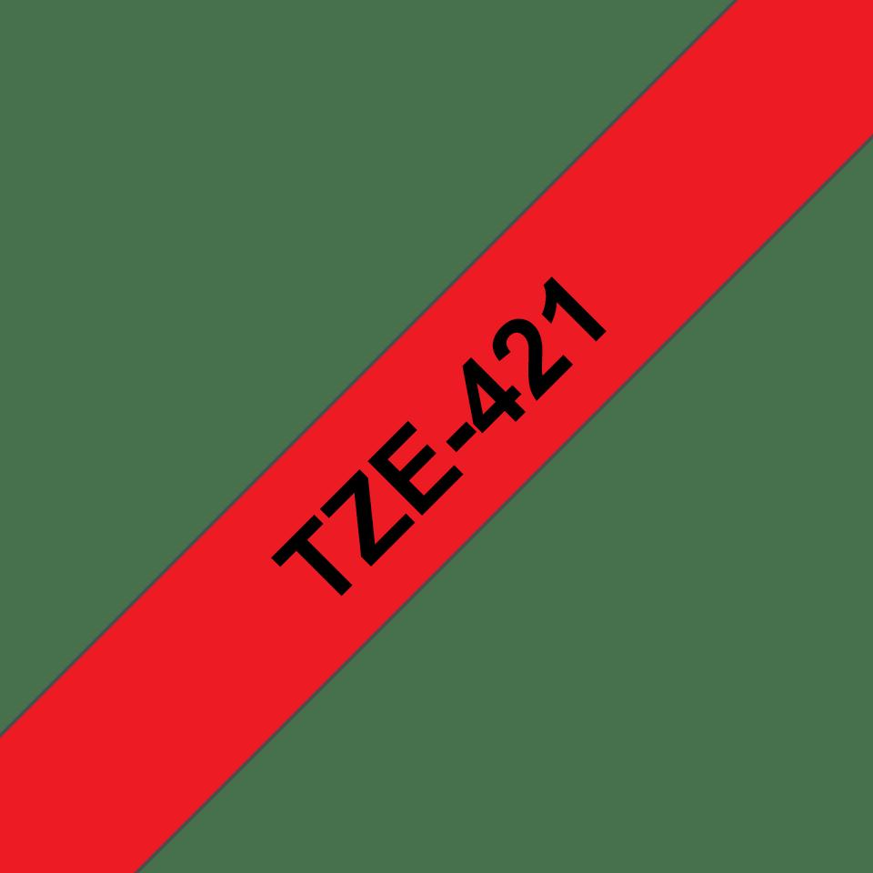 Brother TZe-421 - черен текст на червена ламинирана лента, 9mm ширина 3