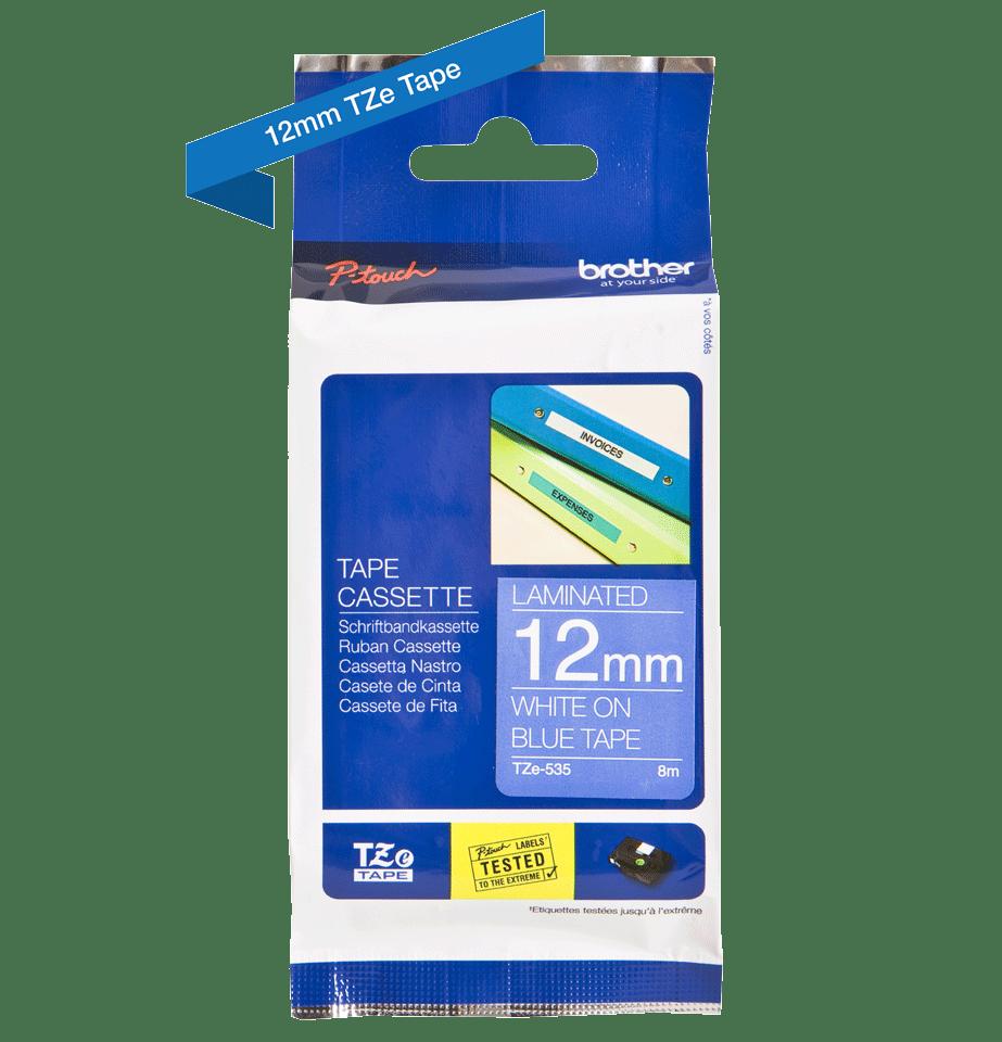 Brother TZe-535 - бял текст на синя ламинирана лента, ширина 12mm 3
