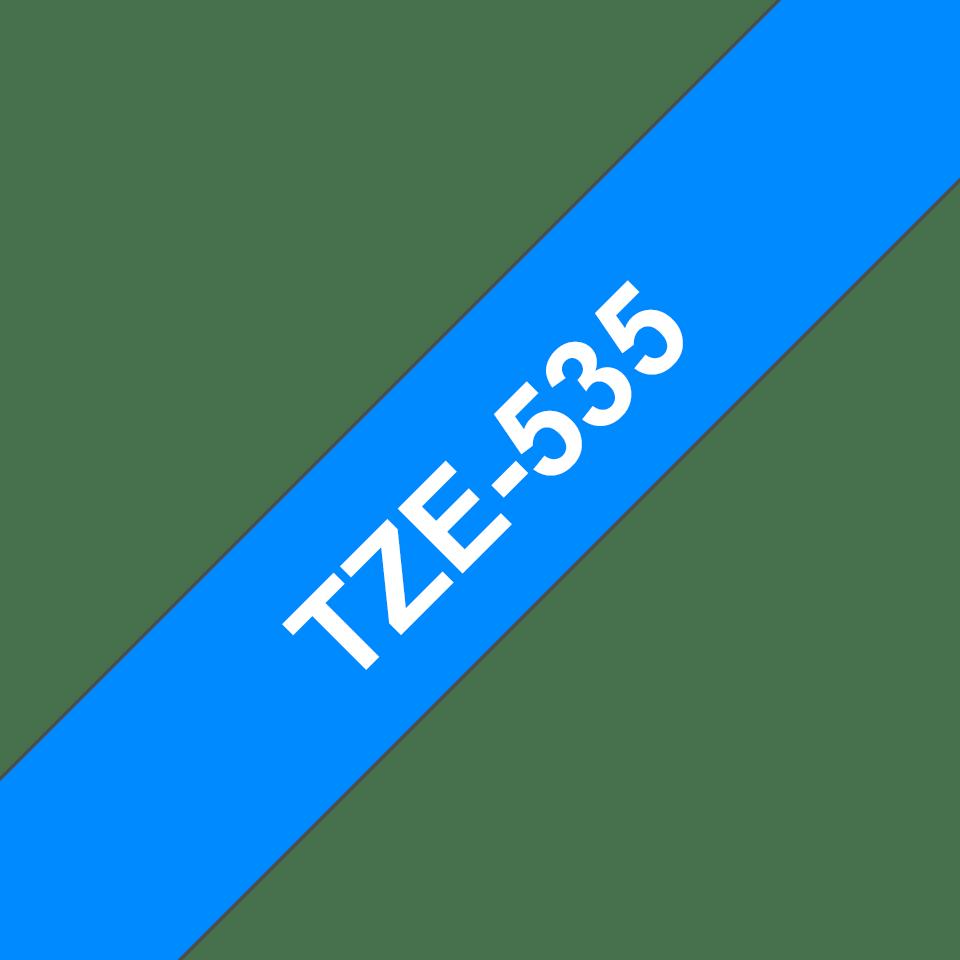 Brother TZe-535 - бял текст на синя ламинирана лента, ширина 12mm