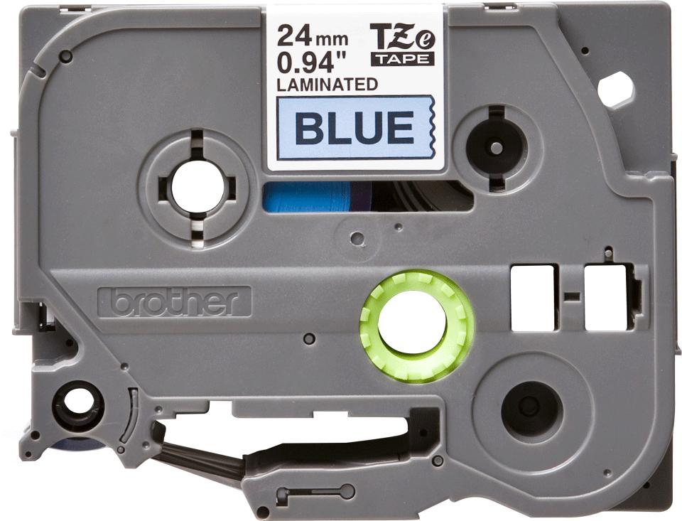 Brother TZe-551 - черен текст на синя ламинирана лента, ширина 24mm