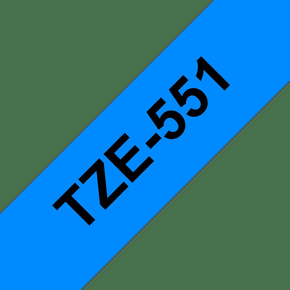 Brother TZe-551 - черен текст на синя ламинирана лента, ширина 24mm 3