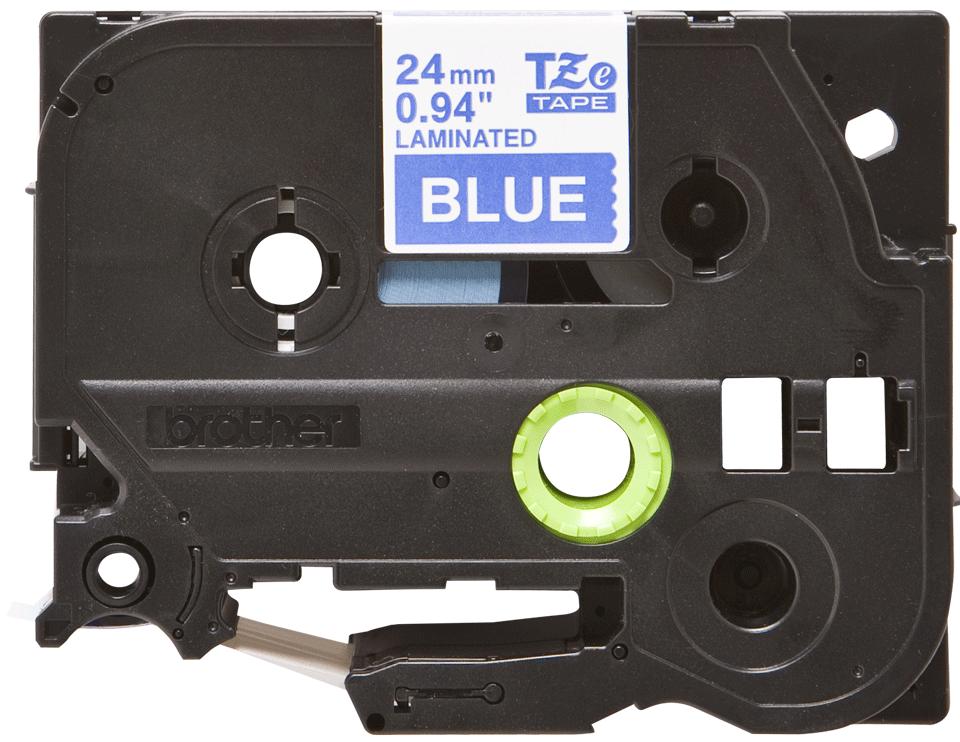 Genuine Brother TZe-555 - бял текст на синя ламинирана лента, ширина 24mm 2