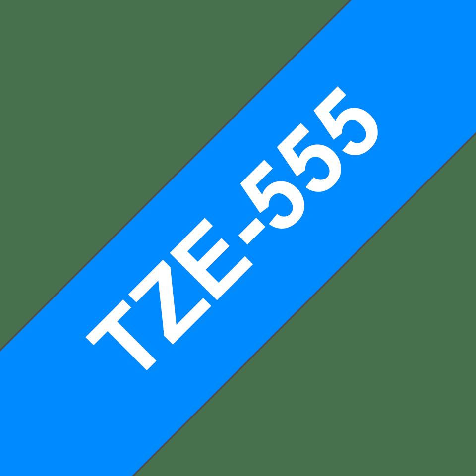 Genuine Brother TZe-555 - бял текст на синя ламинирана лента, ширина 24mm