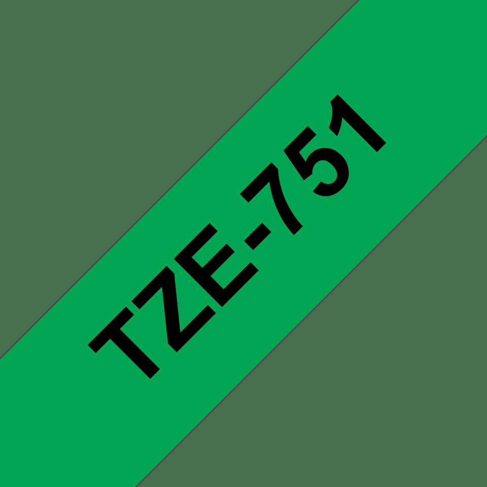 Brother TZe-751 - черен текст на зелена ламинирана лента, ширина 24mm 3