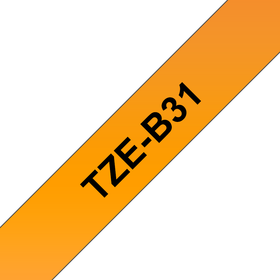Brother TZe-B31 - черен текст на оранжева флуоресцентна лента, ширина 12mm 3