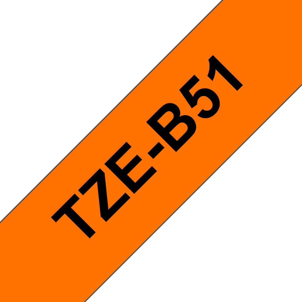 Brother TZe-B51 - черен текст на оранжева флуоресцентна лента, ширина 24mm 3