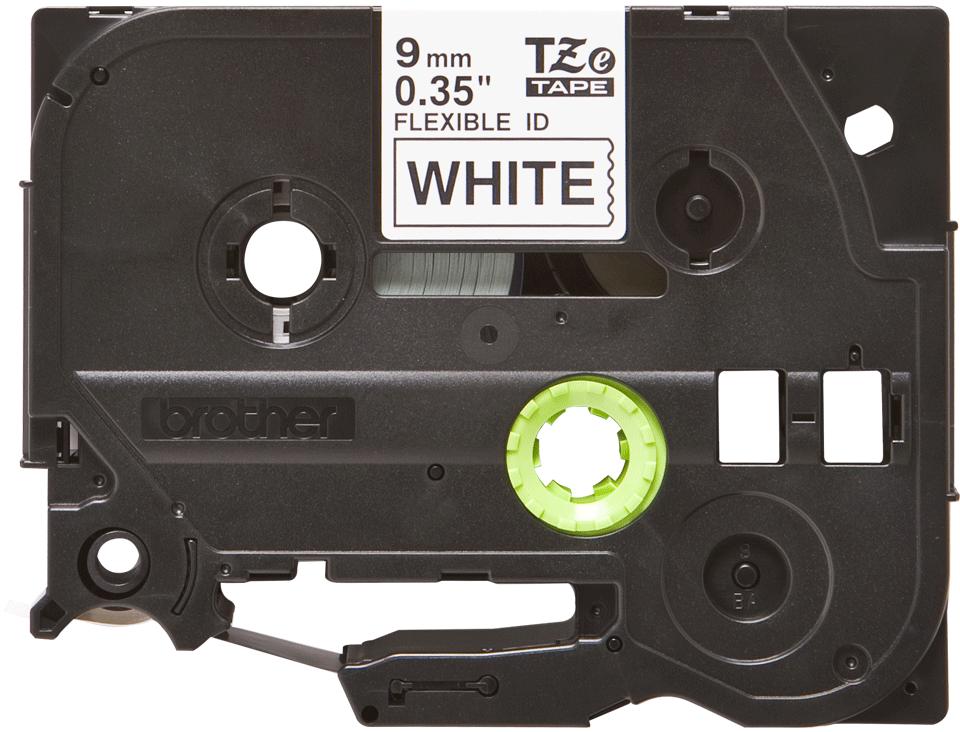 Brother TZe-FX221 - черен текст на бяла гъвгава лента, ширина 9mm 2