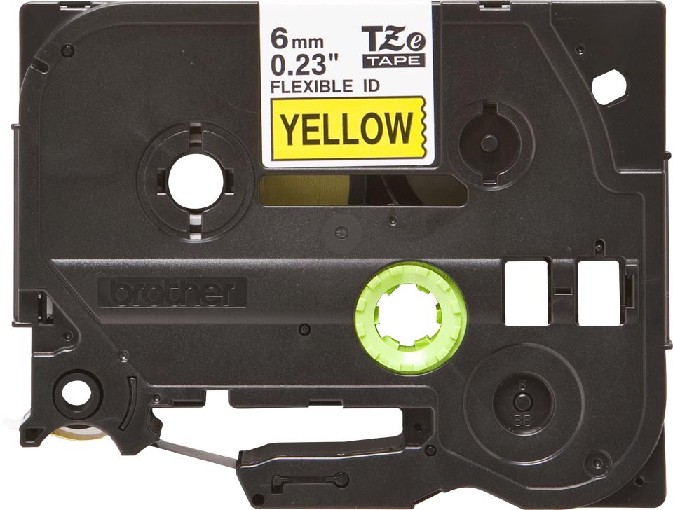 Brother TZe-FX611 - черен текст на жълта гъвгава лента, ширина 6mm
