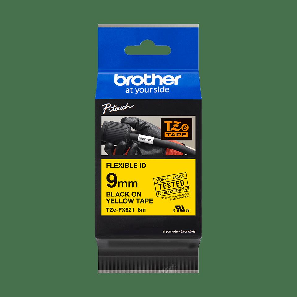 Brother TZe-FX621 - черен текст на жълта гъвгава лента, ширина 9mm 2